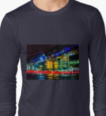 Tram rushing past Southern Cross Railway Station, Melbourne, Victoria, Australia. Long Sleeve T-Shirt
