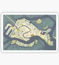 Venice city map antique Sticker