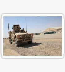 An Oshkosh M-ATV sits parked at Camp Leatherneck, Afghanistan. Sticker
