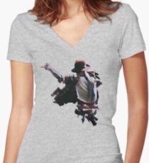 Michael Jackson Women's Fitted V-Neck T-Shirt