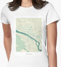 Plock Map Blue Vintage Womens Fitted T-Shirt