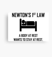 Newton's First Law- Funny Physics Joke Canvas Print