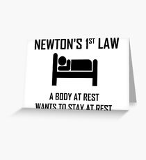 Newton's First Law- Funny Physics Joke Greeting Card
