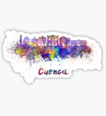 Cuenca skyline in watercolor Sticker