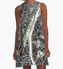 Paris city map engraving A-Line Dress