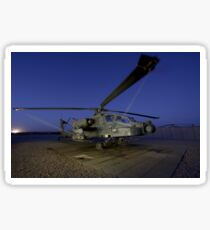 A U.S. Army AH-64D Apache helicopter at Shindand Air Base, Afghanistan. Sticker