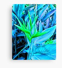 Tropical Foliage in Psychedelic Cyan Blue Canvas Print