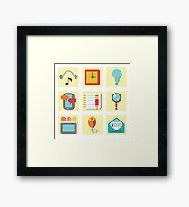 set of flat icons for web appplication Framed Print
