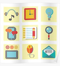 set of flat icons for web appplication Poster