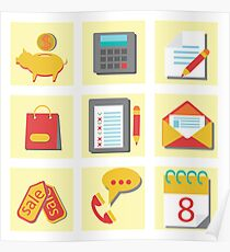 set of flat icons for web design Poster