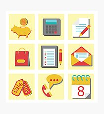 set of flat icons for web design Photographic Print