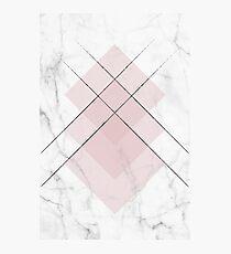 White Marble Scandinavian Geometric Blush Pink Squares Photographic Print