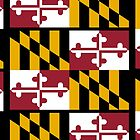 MARYLAND, America, Flag of Maryland, Maryland Flag, Pure & Simple, USA, on BLACK by TOM HILL - Designer