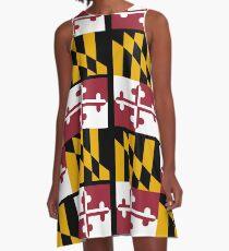 MARYLAND, America, Flag of Maryland, Maryland Flag, Pure & Simple, USA, on BLACK A-Line Dress
