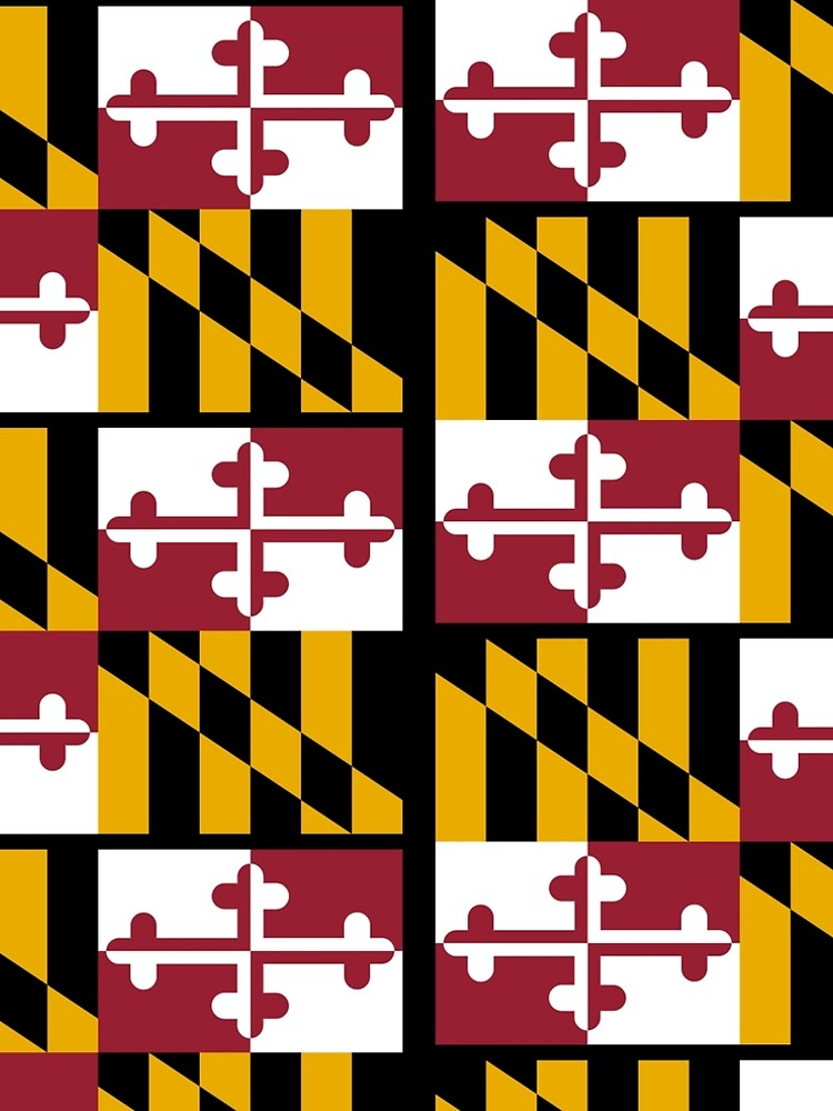 MARYLAND, America, Flag of Maryland, Maryland Flag, Pure & Simple, USA, on BLACK. by TOMSREDBUBBLE