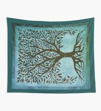 Tree Of Life Woodcut In Blue Wall Tapestry