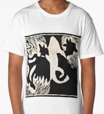 Animal lino cut print Long T-Shirt