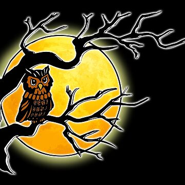 NIGHT OWL, OWL, Moon, Owl in tree, by TOMSREDBUBBLE
