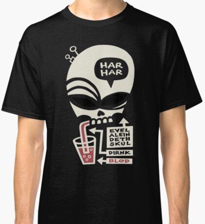 Evel Alein Deth Skul Dirnk Blod Classic T-Shirt