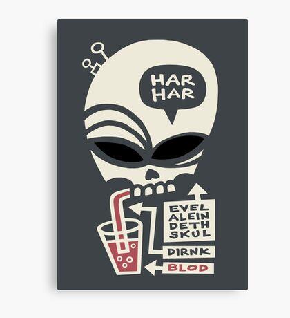 Evel Alein Deth Skul Dirnk Blod Canvas Print