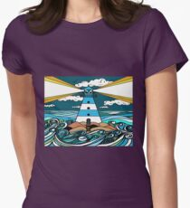 The Guiding Light, Lighthouse Artwork Womens Fitted T-Shirt