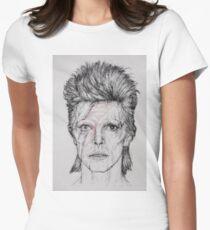 David Bowie Ziggy Stardust Portrait Sketch Womens Fitted T-Shirt