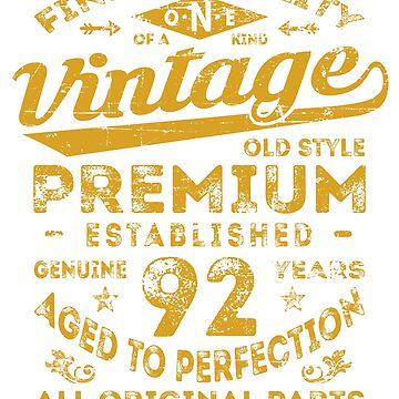 Vintage 92nd Birthday Gift Idea by ciddesign