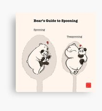 Bear's Guide to Spooning Canvas Print
