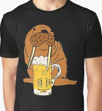 Smiletodaytees Funny Walrus Drinking Beer Graphic T-Shirt