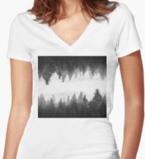 Black and white foggy mirrored forest Women's Fitted V-Neck T-Shirt