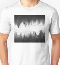 Black and white foggy mirrored forest Unisex T-Shirt