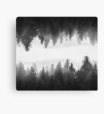 Black and white foggy mirrored forest Canvas Print