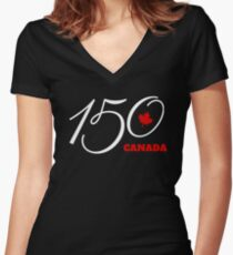 Canada 150, Canada Day Celebration Tshirt / Decor Women's Fitted V-Neck T-Shirt