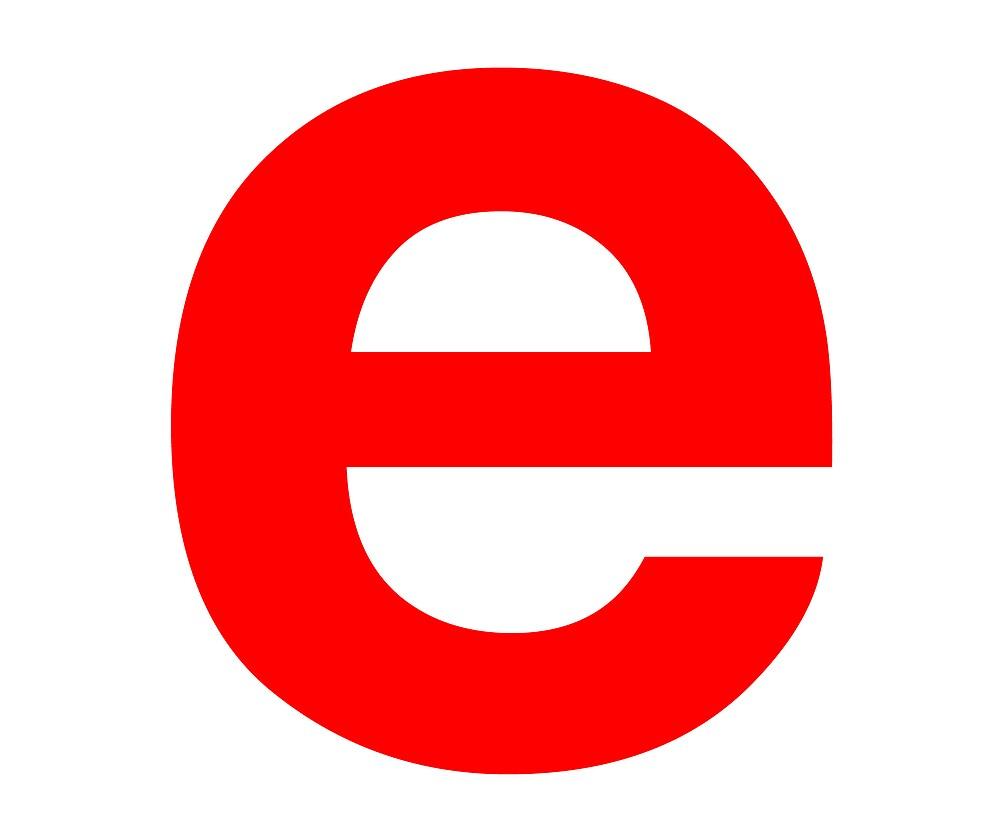 Red e (Standard helvetica bold) by edeology
