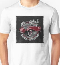 retro car in the circle with a phrase 'One wish, four wheels' Unisex T-Shirt
