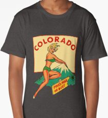 Colorado Pinup Pikes Peak Vintage Travel Decal Long T-Shirt