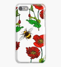 Seamless poppy pattern with a bumblebee.  iPhone Case/Skin