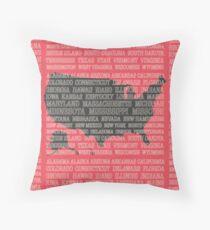 50 States of America Throw Pillow