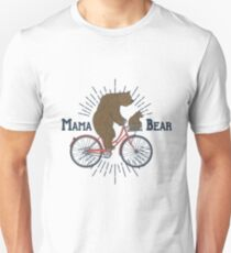 Mama Bear on a Bicycle Unisex T-Shirt