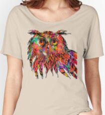 Colorful Owl Drawing Women's Relaxed Fit T-Shirt