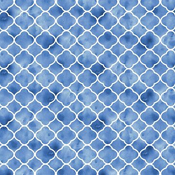 Blue and White Moroccan Pattern by whimseydesigns