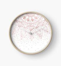 Elegant rose gold mandala confetti design Clock