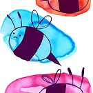 Colorful Watercolor Bees by SaradaBoru