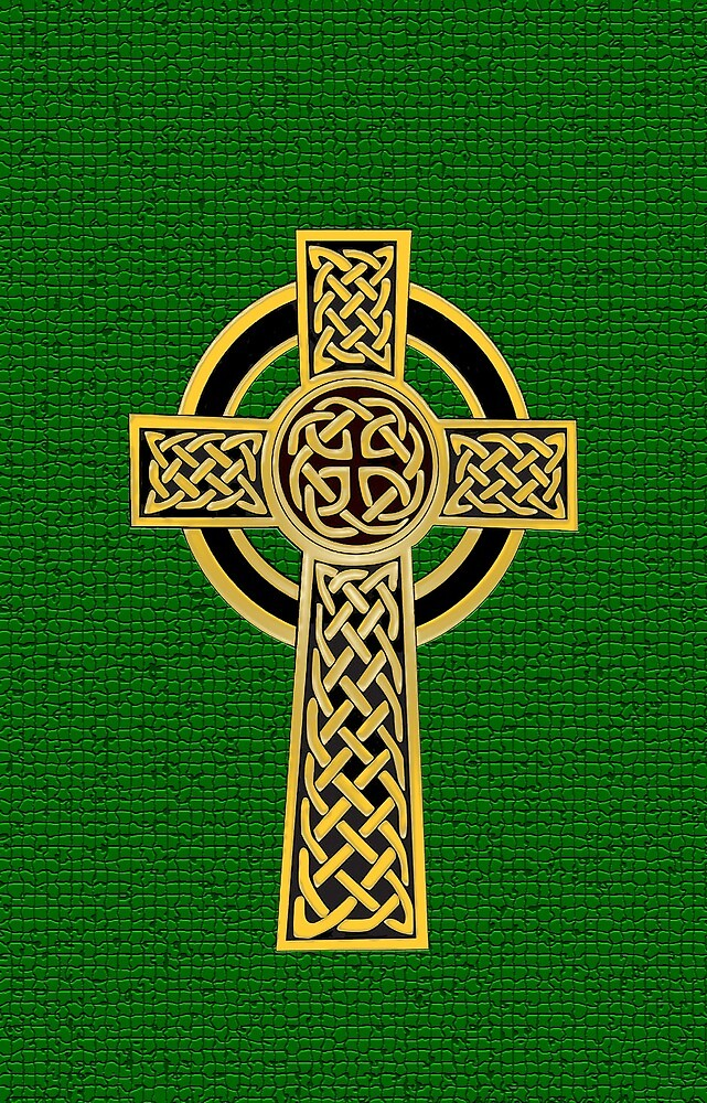 Celtic Cross, gold and green by Olicanian