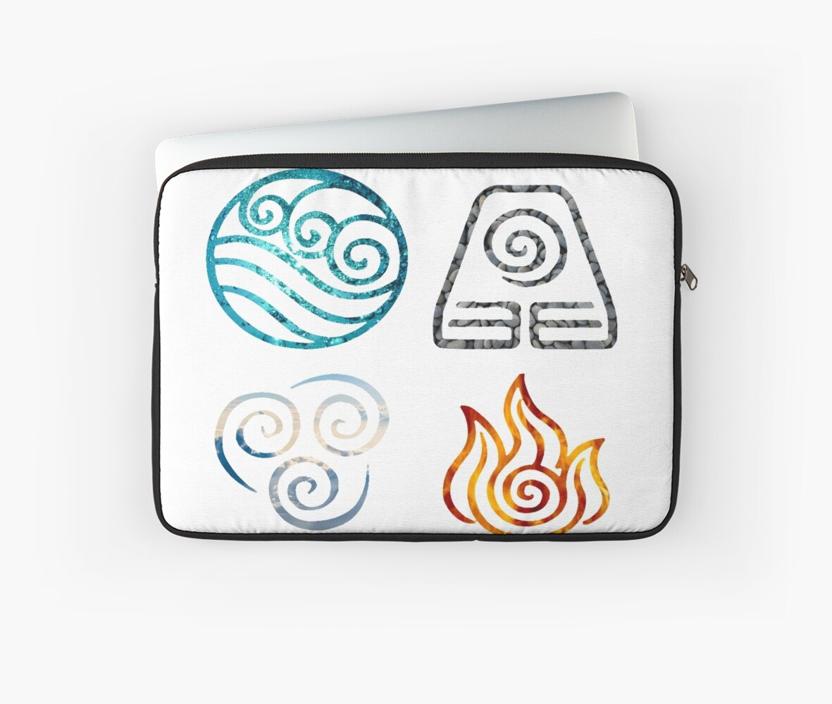 Avatar The Last Airbender Element Symbols Laptop Sleeves By