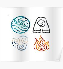 Avatar the Last Airbender Element Symbols Poster