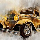 32 Ford Three Window Coupe Watercolour by ChasSinklier