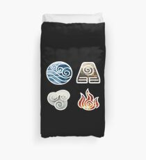Avatar the Last Airbender Element Symbols Duvet Cover