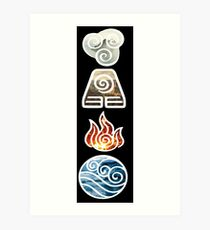 Avatar the Last Airbender Element Symbols Art Print