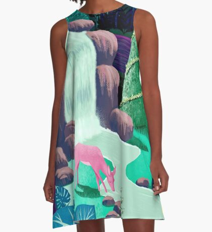 The Whispering Waters of Eventide Vale A-Line Dress